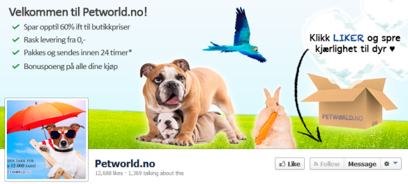 Petworld.no Facebook account